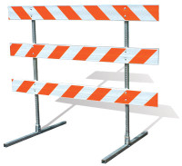 "Telespar<sup>®</sup> Traffic Baricade"" width=""200″ height=""183″ />Problem</strong></p> <p>Company was looking for a high-strength yet safe temporary barricade.</p> <p><strong>Solution</strong></p> <p>Telespar<sup>®</sup> Type lll Barricades were utilized to provide a temporary barrier that was still crashworthy. The signs were yielding and able to breakaway on impact causing minimal damage to the impacting vehicle. The signs were in good enough condition to be re-used after the collision.</p> <p>Telespar<sup>®</sup> Type lll Barricades are:</p> <ul> <li>Easily stores, transported and installed</li> <li>Has detachable legs</li> <li>Requires no welding</li> </ul> <h2>Temporary Sign Skids</h2> <p><strong><img class="